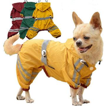 สุนัขเสื้อกันฝนแบบRaincoatปรับระดับได้แบบคู่เสื้อกันฝนชุดคลุมกันน้ำแบบกันน้ำสำหรับS