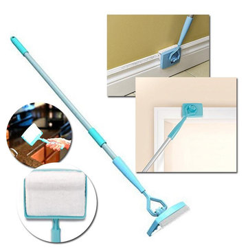 Honana BC-868 Bathroom Baseboard Buddy Extendable Bathtub Clean Brush Microfiber Glide Cleaning Dust Brush