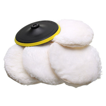 5pcs 7 Inch Polished Soft Wool Bonnet with Attachment Wheel Pad Polishing Tool