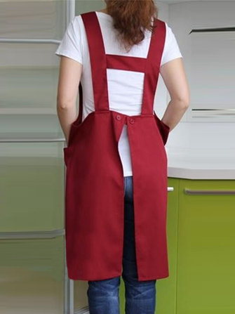Women Japanese Style Kitchen Brief Pure Color Pockets Pinafo