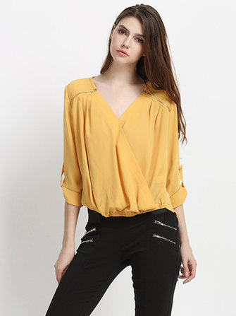 Elegant Women Solid Zipper V Neck Wrap OL Chiffon Blouse