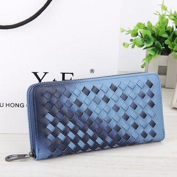 5.5 Inch Women's PU Woven Texture Long Wallet Phone Bag Handbag For iPhone 7/7 PLus Samsung S7 Edge
