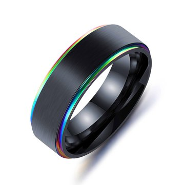 Trendy Black Titanium Steel Simple Style Colorful Plating Men Finger Ring Valentine's Day Gift