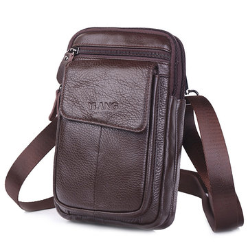 Men Genuine Leather Personalized Crossbody Bag Waist Bag Phone Bag
