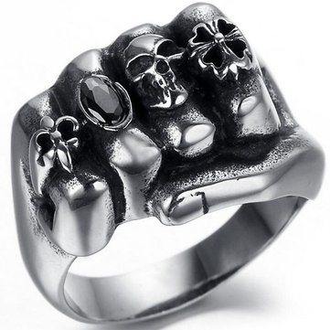 Halloween Punk Stainless Steel Silver Finger Ring Fist Skull Cool Personality Ring for Men