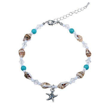 Natural Stone Beaded Bohemian Starfish Anklet