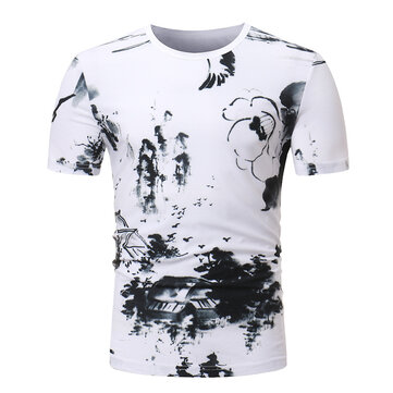 Men's Casual China Style Printing Short-Sleeve T-Shirts Fashion Breathable Tops Tees