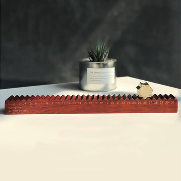 Creative Retro Wooden Gear Calendar Natural Rosewood Rolling Day Time Flying Desktop Decor