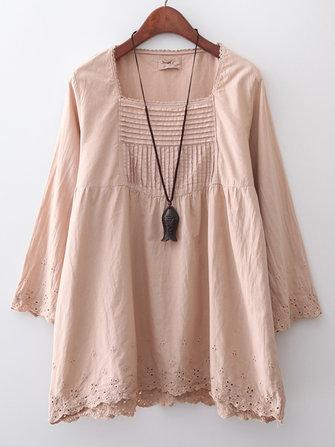 Color puro Casual Mujer bordado hueco hacia fuera cuadrado Cuello blusa