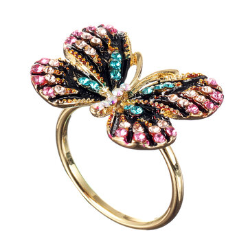 Fashion Colorful Butterfly 18K Gold Ring Luxury Full Rhinestones Opening Adjustable Rings for Women