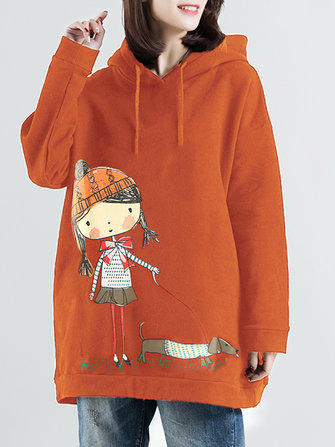 Plus Size Cartoon Print Long Sleeve Hooded Sweatshirt