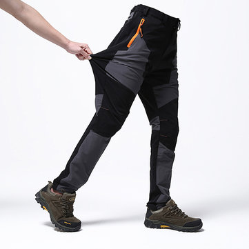 Mens Outdoor Stitching Quick Drying Pants Waterproof Windproof Sport-pants