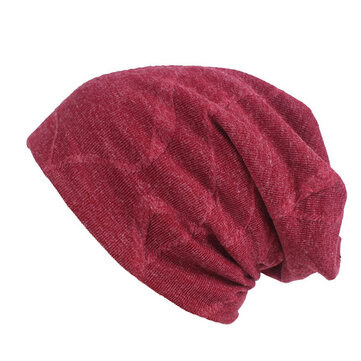 Men Cotton Solid Winter Thicken Warm Beanie Hats