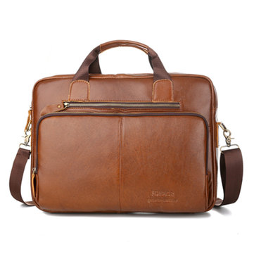 Men Leather Laptop Bag Business Shoulder Bag Messenger Zipper Handbags Computer Briefcase