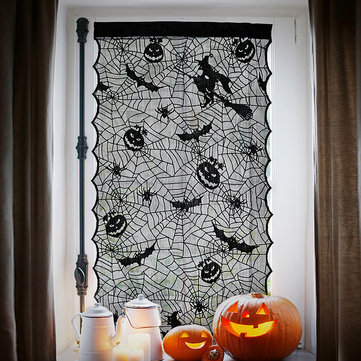 Halloween Lace Window Door Curtains Witch Pumpkins Bats Cloth Haunted House Decor