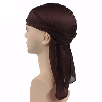Unisex Polyester Plain Bandage Pirate Headwrap Mesh Breathable Sunscreen Bandana Hat
