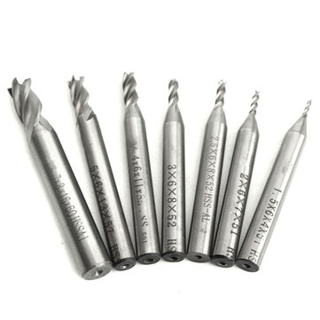 7pcs 1.5-7mm HSS End Mill 4 Flutes Straight Shank Milling CNC Cutter Drill Bit Set