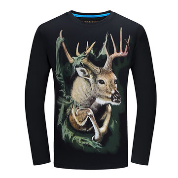 Mens 3D Animal Pattern Printing Personality Long Sleeve Cotton T-shirt Plus Size S-4XL