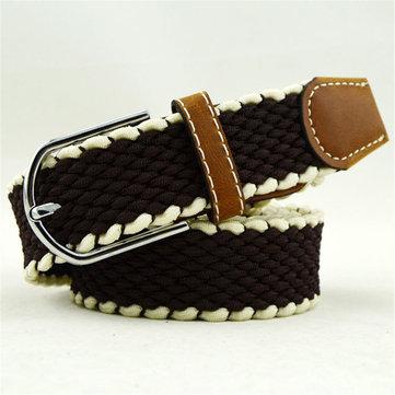 Men Women Elastic Belt Knitted Canvas Belt Decoration Belt Female Pin Buckle Canvas Strap