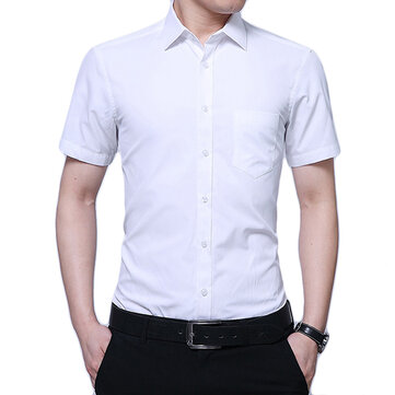 Mens Non-iron Business Short Sleeve Sim Summer White Dress Shirts
