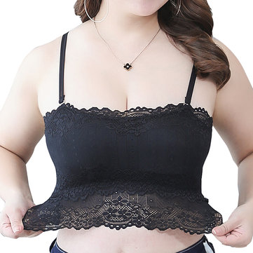 Plus Size Black Lace Racerback Bralette Wireless Full Coverage Summer Bra