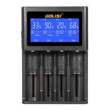 Golisi S4 HD LCD Display Smart Li-ion Ni-cd/Ni-md/AAA/AA Battery Charger