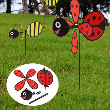 DIY Cute Bee Ladybug Windmill Lawn Garden Yard Home Camp Decor Pinwheel Wind Spinner Toy