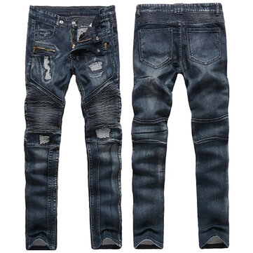 Mens Fashion Biker Vintage Fold Ripped Jeans Hole Straight Leg Stitching Denim Pants