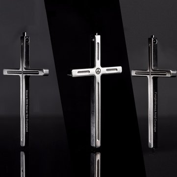 Free Soldier Cross Titanium Alloy Self Defense Protection Pray Necklace Anti-war Peace Mandela Type