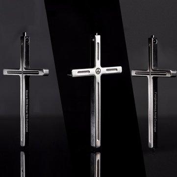 Free Soldier Cross Titanium Alloy Self Defense Protection Pray Necklace Anti-war Peace Mandela Type
