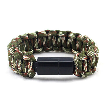 IPRee® EDC Outdoor Survival Bracelet Camping Emergency Paracord Tool Kits USB Android Data Cable
