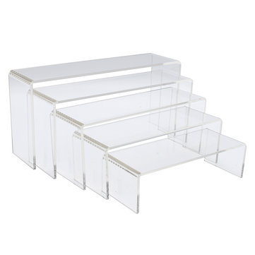5Pcs Clear Acrylic Perspex Sturdy Jewelry Cupcake Dessert Display Riser Stand Showcase Decorations