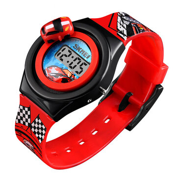 SKMEI 1376 Cartoon Car Children Digital Watch Creative Date Display Fashion Watch