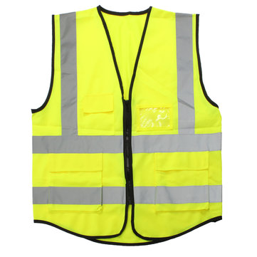 Yellow Hi-Vis Reflective Safety Vest Jacket 5 Pockets Security Waistcoat