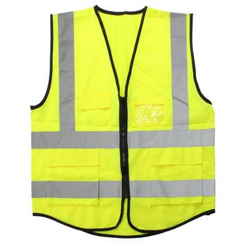 Yellow Hi-Vis Reflective Safety Vest Jacket 5 Pockets Security Waistcoat