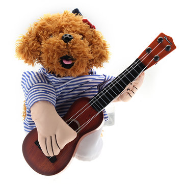 Teddy Dog Halloween Costume Cute Funny Pet Guitar Player Dress Up Party Clothes