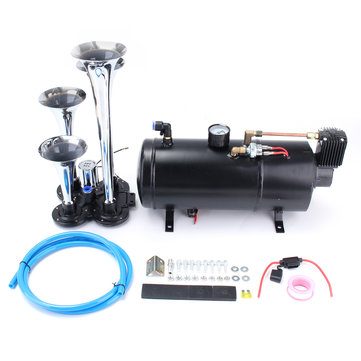 Truck Train 4 Trumpet Chrome Air Horn Kit W/ 150 PSI 12V 3 Liter Air Compressor