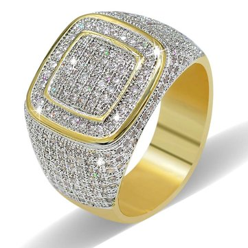Trendy Copper Gold-plating Zircon Dazzling Ring for Men