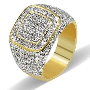 Luxury Fine Jewelry Copper 18K True Gold-plating Zircon Dazzling Ring Gift for Men