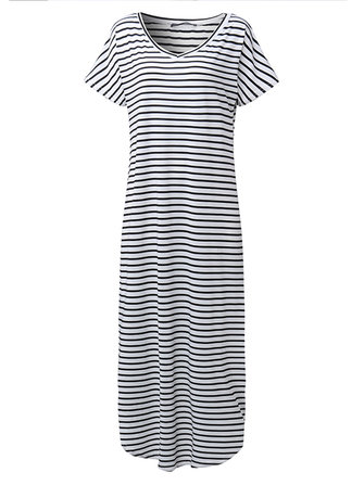 Casual Women Side Split Striped V-Neck Maxi Dress