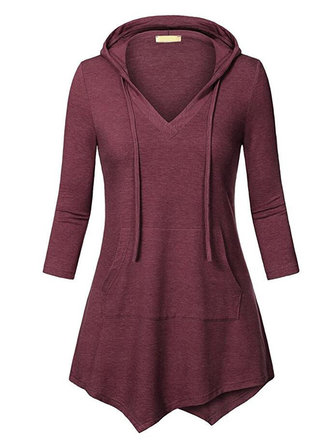 Women Solid Color Hooded Blouse