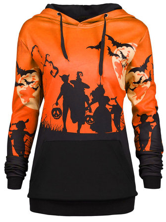 Halloween Print Patchwork Long Sleeve Hooded Sweatshirt