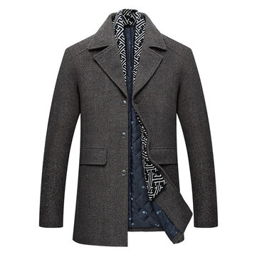 Mens Decorative Scarf Mid Long Thickened Warm Suit Collar Overcoat Jacket