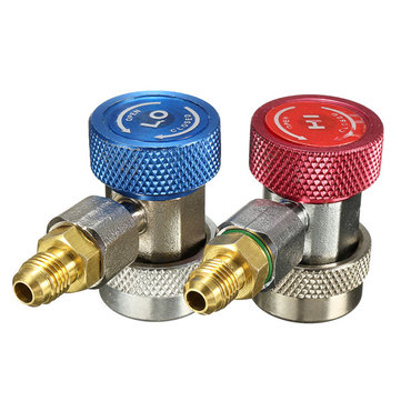 R134A AC Air Condition Adjustable Quick Connector Adapter High/Low Pressure