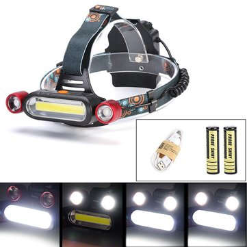 XANES 1300LM 2 x XM-L T6 LED COB Аккумуляторная батарея 18650 Battey Headlamp Head Light Torch