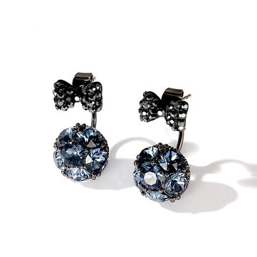 Sweet 925 Sterling Silver Earrings Full Rhinestone Bowknot Ball Stud Earrings for Women