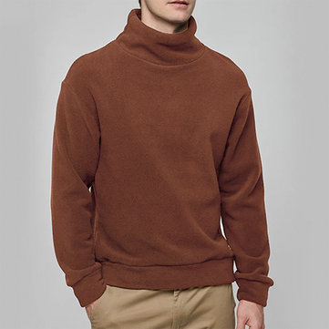 Autumn Winter Fleece High Collar Fashion Solid Color Long Sleeve T-shirts for Men