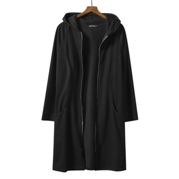ChArmkpR Mens Mid-long Solid Color Zipper Black Cardigans