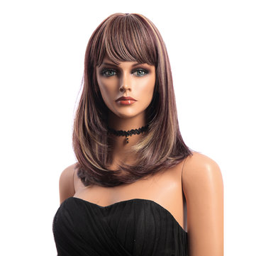 16 Inch KANEKALON Medium Long Straight Synthetic Hair Wigs