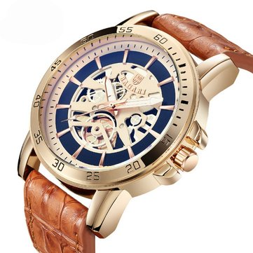 BAGARI 1688 Waterproof Leather Strap Sport Quartz Watch